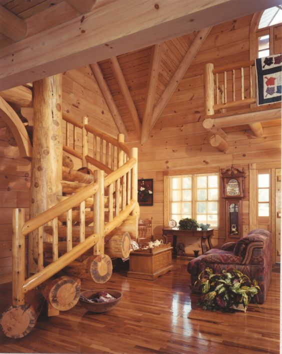 Logs Stairs And Log Homes On Pinterest