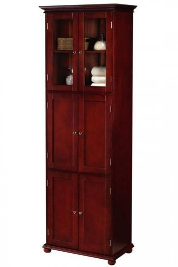 Hampton bay 6 door tall cabinet linen cabinets - Tall bathroom storage cabinets with doors ...