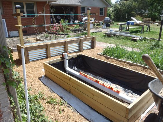 This is our 4 39 x8 39 wicking bed this is a large version of for Diy pond liner ideas