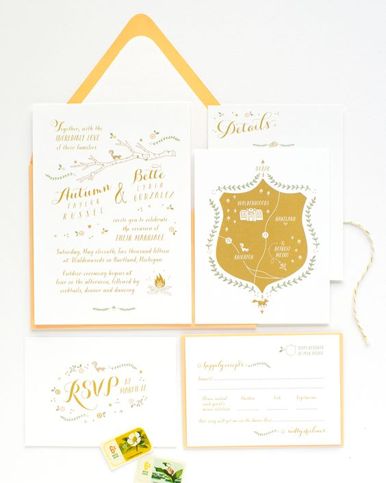 Woodland Animals Illustrated Wedding Invitation alisabobzien.com