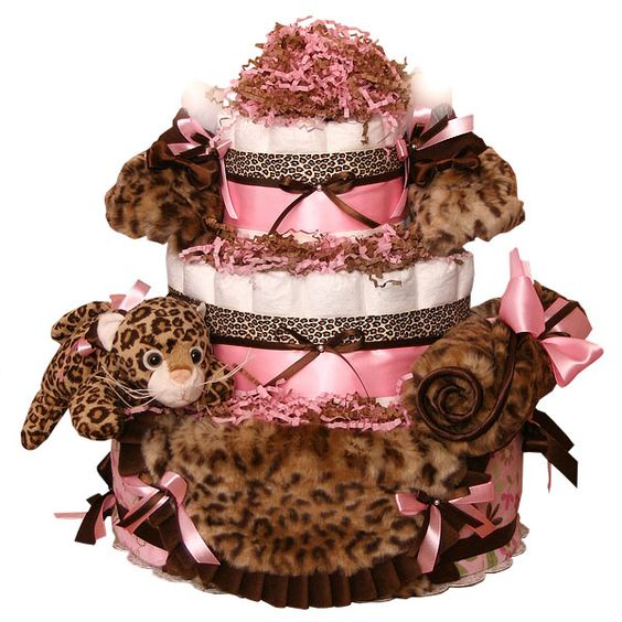 Luxe Leopard Couture Diaper Cake - $185.00 : Diaper Cakes Mall, Unique Baby shower diaper cake
