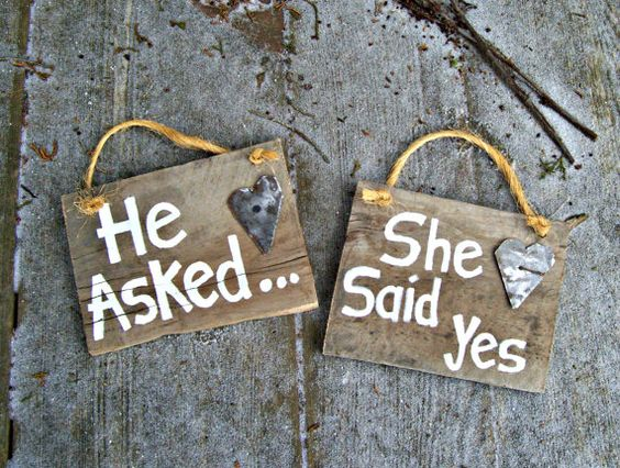 Wedding 1920's Barn Wood Signs Hand Painted He Asked She Said Yes Country Rustic Engagement Photo Props Hand Cut Antique Metal Hearts.  via Etsy.