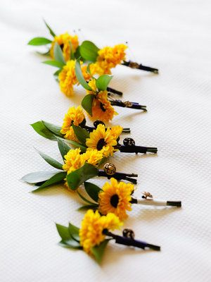 Mini sunflower boutonnieres provided a pop of color! Nami Dadlani Photography
