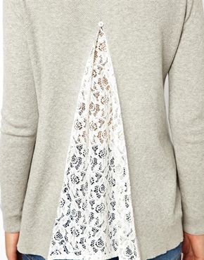 Image 3 of ASOS Sweater With Lace Insert