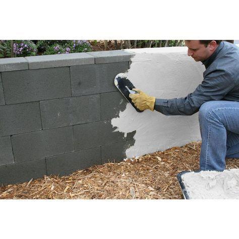 Quikrete 50 Lb Quikwall White Surface Bonding Cement 123050 The Home Depot In 2020 Cinder Block Garden Wall Cinder Block House Concrete Block Walls