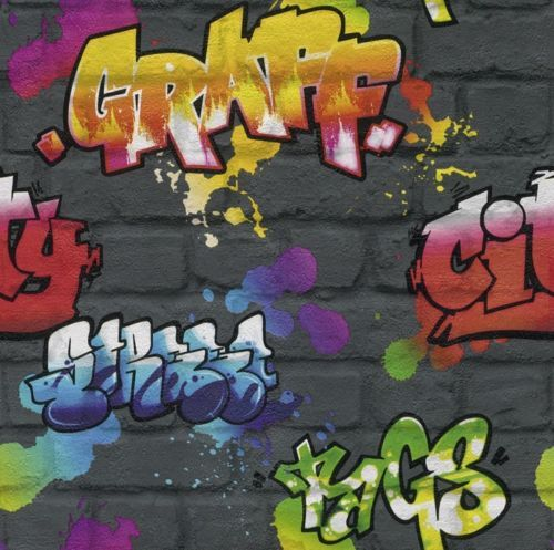 Details About BLACK GRAFFITI BRICK WALL EFFECT FEATURE TEENAGE WALLPAPER 237801 FROM RASCH