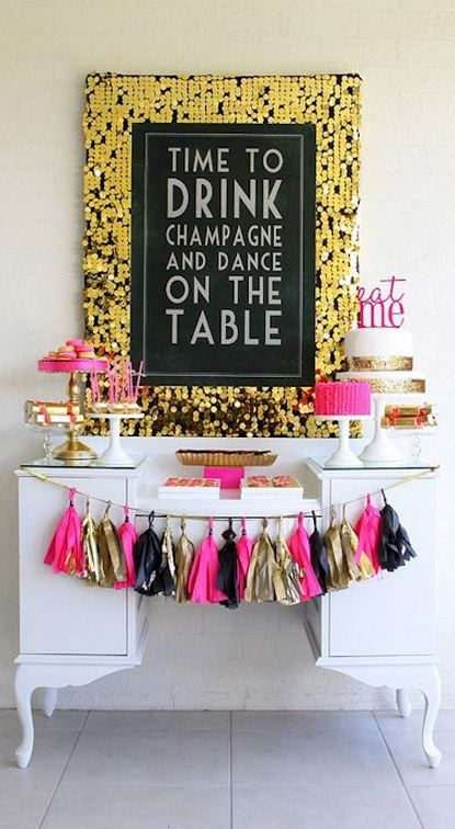 Bachelorette party decor idea - gold, pink + black glitter decor {Courtesy of A Blissful Nest}