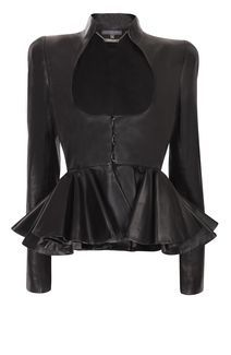 Soft leather jacket with ruffle pleating at waist! Alexander McQueen...