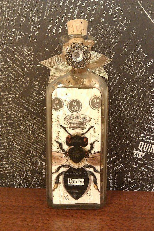 """Altered vintage bottle """"Queen Bee"""""""