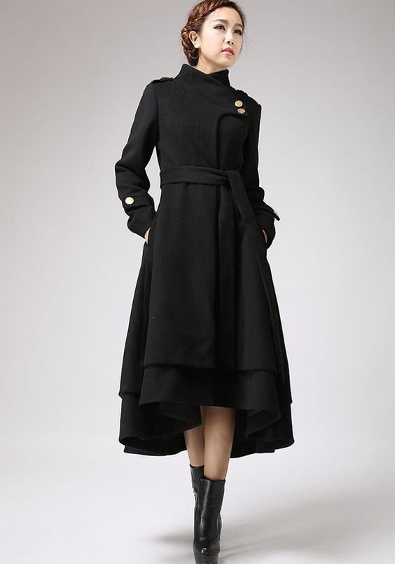Asymmetrical coat black coat wool coat winter jacket warm coat