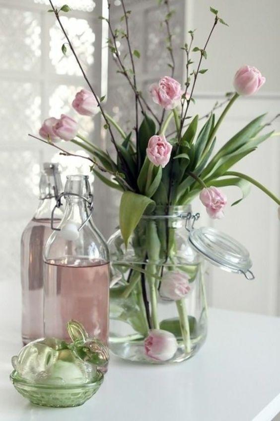 grand vase en verre deco vase transparent avec fleurs
