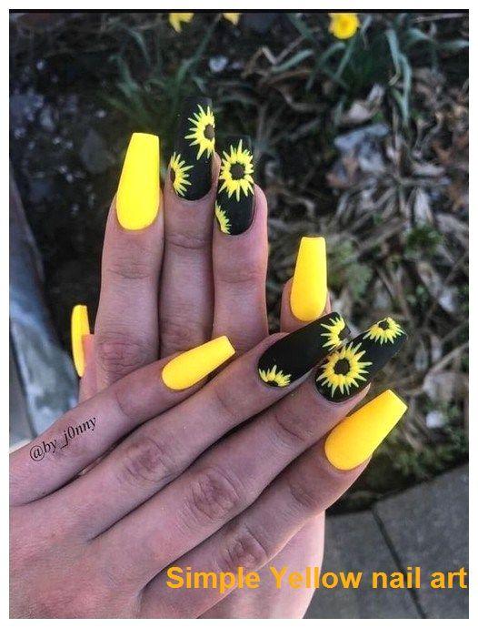 23 Great Yellow Nail Art Designs 2020 Nailideas Nailarts In 2020 Sunflower Nails Neon Nail Designs Yellow Nail Art