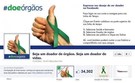 Ministério da saúde e Facebook fecham parceria para incentivar a doação de órgãos no Brasil. Qual a sua opinião sobre isso? Clique na imagem para ler a matéria.