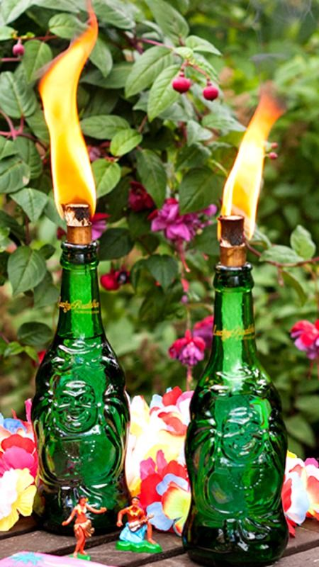 Buddha tiki torches and how to make on pinterest for Diy beer bottle tiki torches