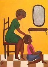 "African american folk artist Karen Terrys Ethnic painting 18"" x 24"" ""Like Mom"""