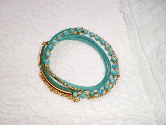 wrap bracelet leather turquoise bracelet by twolittlefairies