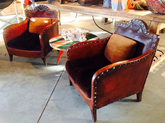 French Moroccan style club chairs