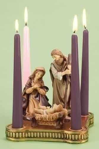 """8""""W Advent W/Holy Family Set of 2"""