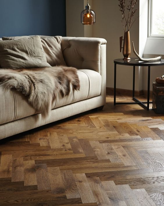 Fired Earth Herringbone parquet.: