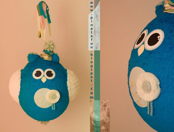 Owl piñata stick, embellished with fine crepe paper streamers by Rico Design, thank you! www.pinatafun.etsy.com http://www.rico-design.de