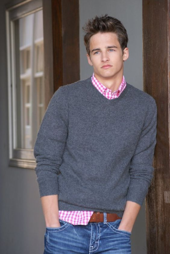 Pink gingham, V neck sweaters and Collared shirts on Pinterest