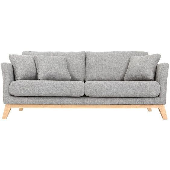 Sofa Scandinavian 3 Places Light Gray Wooden Legs Oslo In 2020 Sofa Love Seat Couch