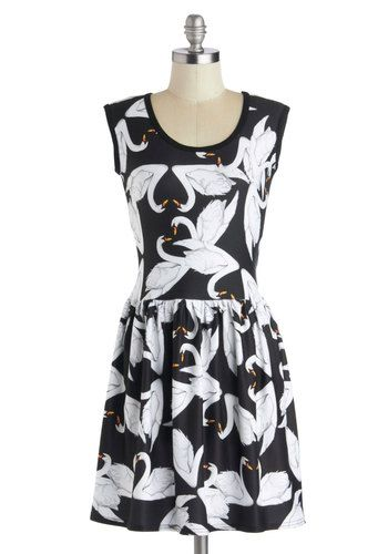 Carefree Carnival Dress in Swan - Mid-length, Sheer, Knit, Black, White, Print with Animals, Casual, A-line, Sleeveless, Good, Scoop, Variat...