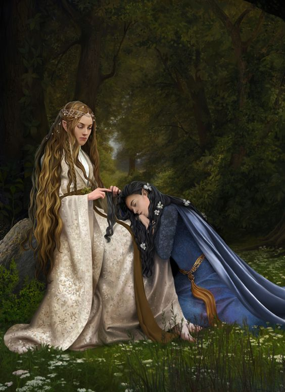 Arwen and Celebrian. They seem so solemn. Is this right before Celebrian departed for Valinor and the very last time they ever saw one another?: