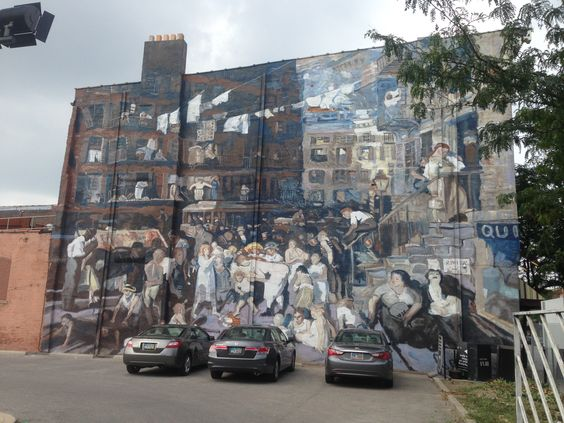 """The Short North Arts District: Cliff Dwellers Mural by Curtis Goldstein & Michelle Attias located at 641 North High Street.  Salutes the art of Columbus-native, George Bellows by depicting his famous """"Cliff Dwellers"""" painting."""