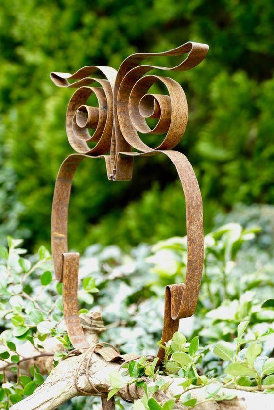 Stahlband Eule Metall Gartenskulpturen Metall Gartenkunst Metallkunst Skulptur