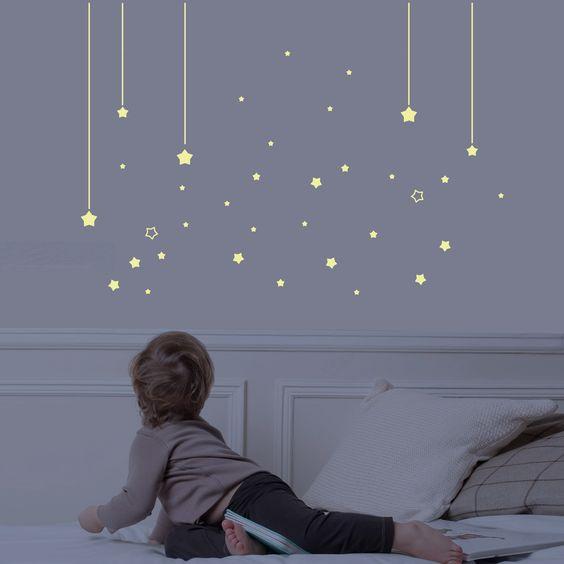 Sticker Mur d'étoiles phosphorescentes : Art for Kids - Stickers phosphorescent - Berceau Magique A positionner en dessous de la toile songe