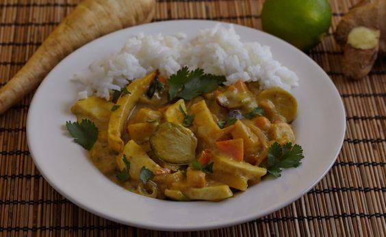 Thaise curry met geroosterde knolgroenten