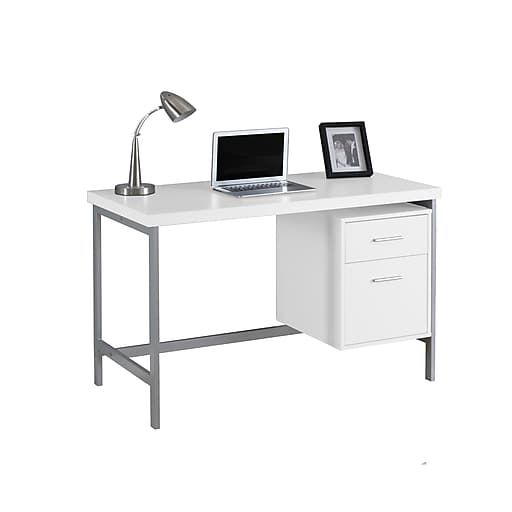 Monarch Specialties Computer Desk 48 L White Silver Metal I 7149 Contemporary Computer Desk White Computer Desk Desk With Drawers