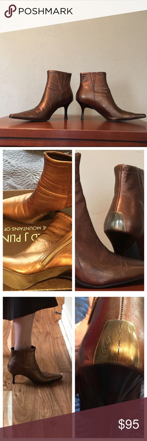 """Donald J Pliner """"Sara"""" metallic gold bronze boots 💥Sale💥Gorgeous leather upper, leather sole, leather insole, beautiful color and craftsmanship, signature embossed above the heel (3""""), side slant zipper, made in Italy. With original box and dust bag, worn once indoor. Ask me if have any questions. Donald J. Pliner Shoes Ankle Boots & Booties"""