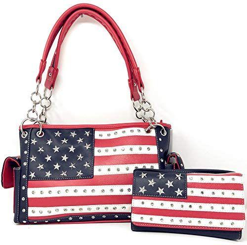 Enjoy Exclusive For Texas West American Flag Rhinestone Women S Concealed Handbags Purse Wallet Set Multi Color Online Newtrendylook Purses Women Handbags Chala Handbag