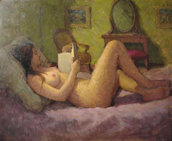 Nu lisant. Guérino Angèli (French, 1926-2011). Oil on canvas.