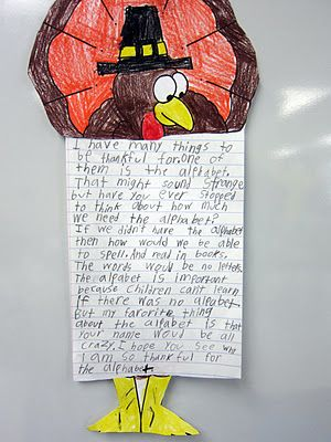 """An unusual thankfulness activity: kids pick out a random noun from a hat (ex. crayons, shoes) and have to write why they are thankful for it. Great for once """"family"""" and """"food"""" have been done too much."""