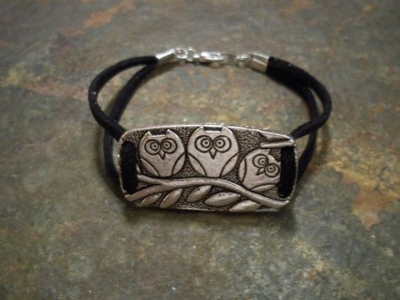 What a Hoot Owl Bracelet with Black Suede by BrandimariesBoutique, $4.95
