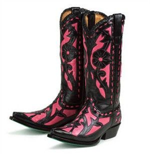 Black and Hot Pink Ladies Cowboy Boots