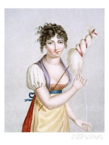The Spinner, Engraved by Augrand, C.1816 (Coloured Engraving) Giclee Print by Madame G. Busset-Dubruste: