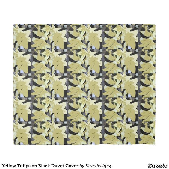 Yellow Tulips on Black Duvet Cover