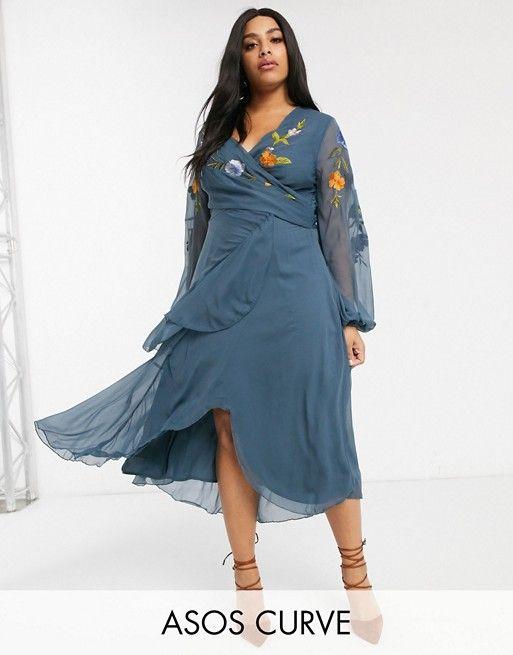 Asos Design Curve Wrap Midi Dress With Garden Floral Embroidery Asos Dresses Asos Designs Midi Dress