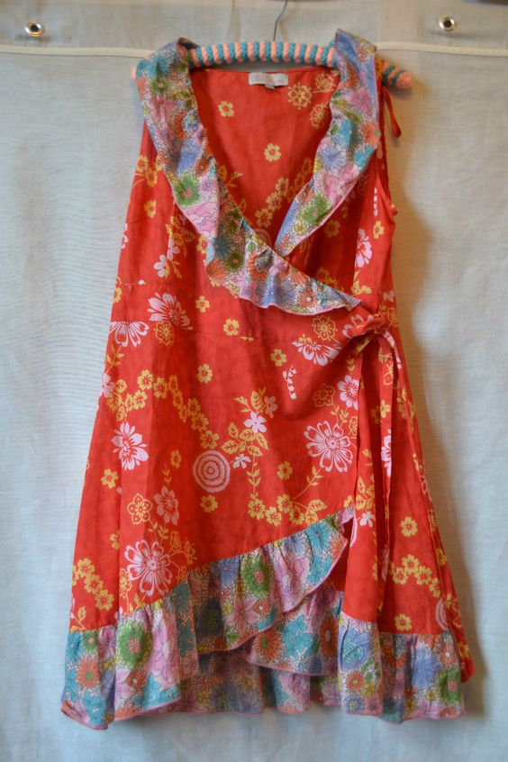 Wraparound Cotton Dress by Be Bean Size 16 Coral Red Yellow Pink Blue Boho Style | eBay