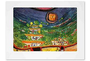 One Kings Lane - Rare Posters - Hundertwasser, House Hanging Under Woods