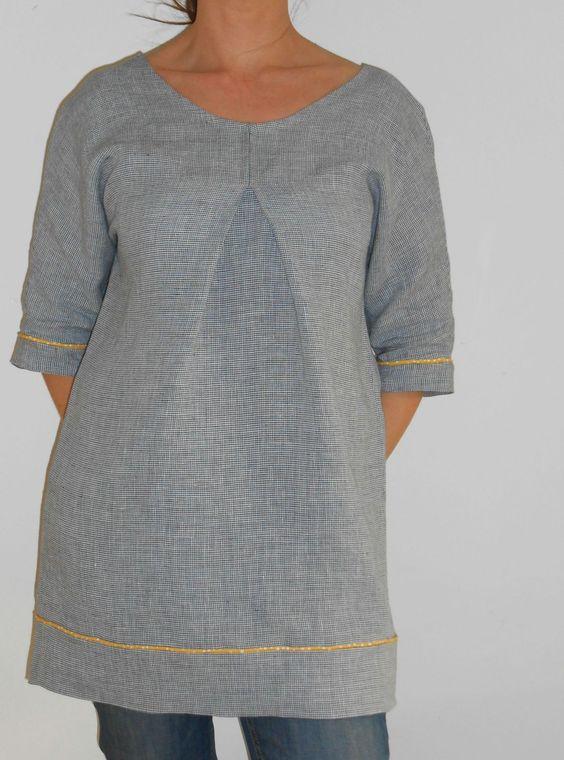 Tunique à partir d'un modèle de TEE shirt loose (http://p8.storage.canalblog.com/81/32/589295/72218463.pdf)