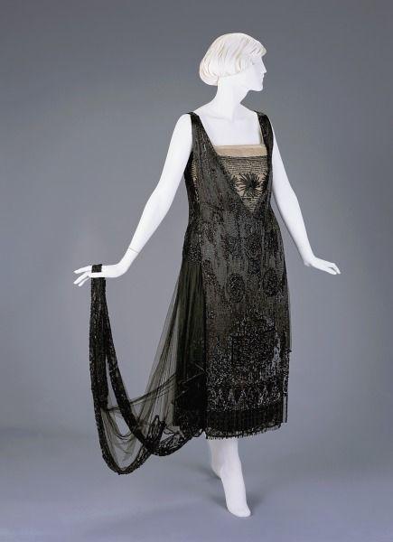 1918-1920, America - Evening Dress by Josephine M. Kasselman - Silk, beads, sequins, metallic thread: