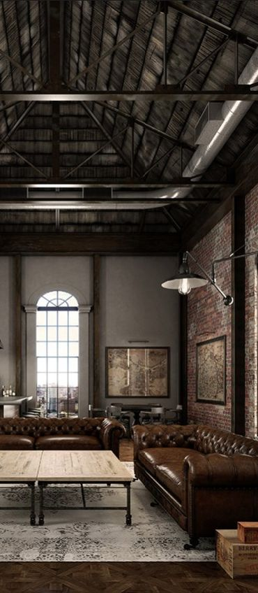 Loft with exposed roof and brick walls discover more for Exposed brick wall living room ideas