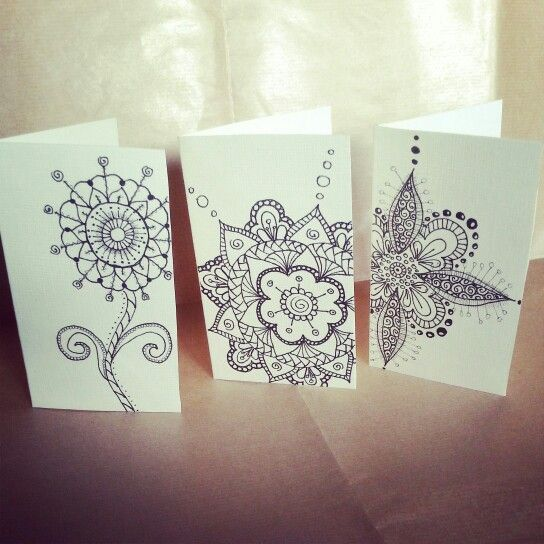 Zentangle & Doodle Flowers Greeting Cards