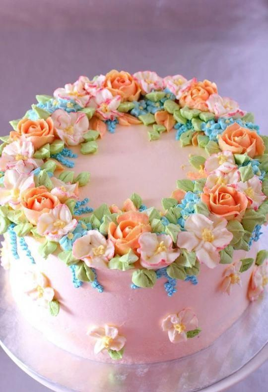 Spring Cake With Buttercream Flowers Cakepiping With Images