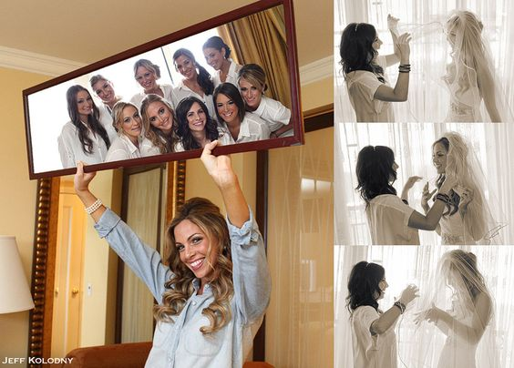 bridesmaids in the mirror, how cute